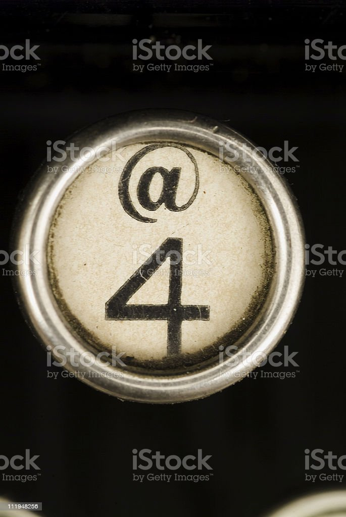 The 4 key from an antique typewriter royalty-free stock photo