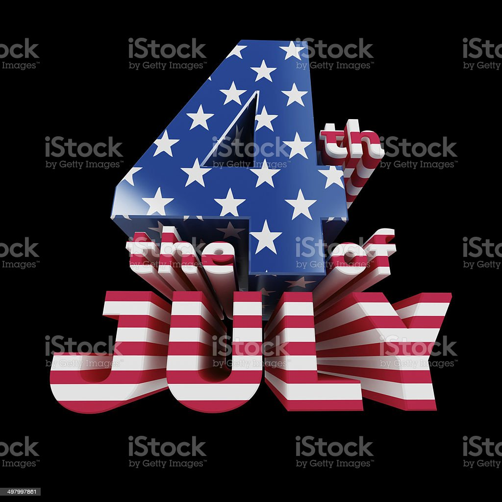 'The 4th of July' cool 3d render (isolated on black) stock photo