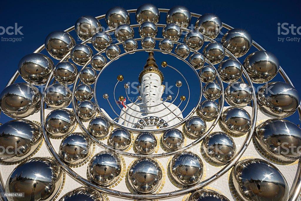 The 5 Buddha statues in Wat Pha Sorn Kaew stock photo