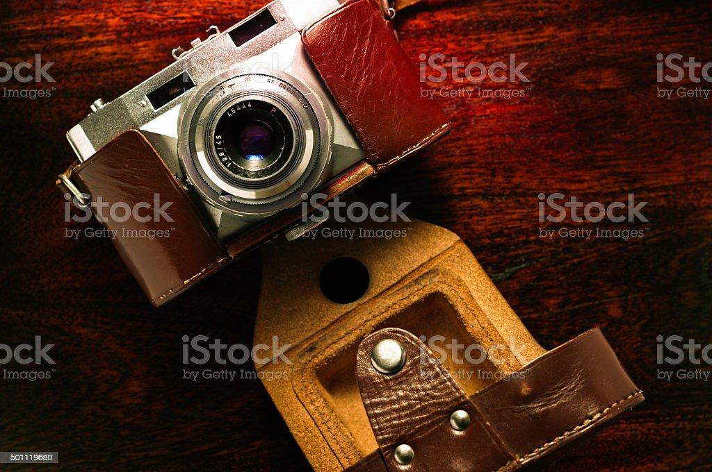 The 50s vintage photo camera stock photo