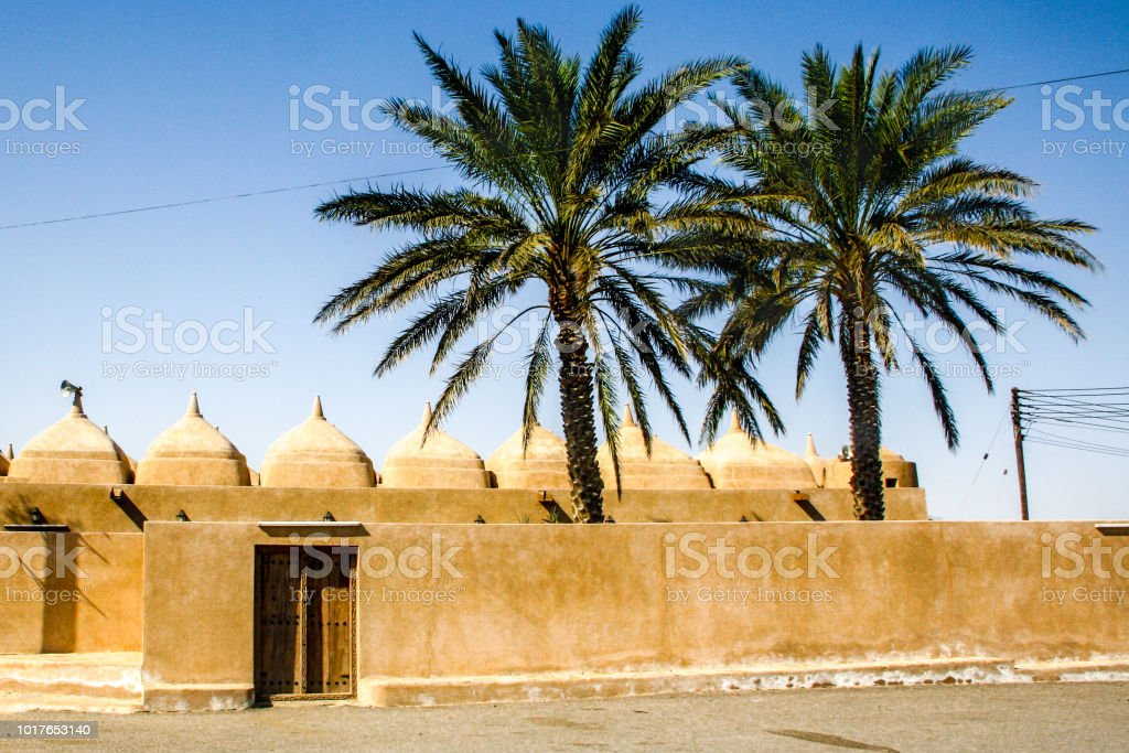 The 52-domed Jami al Hamoda mosque in Jaalan Bani Bu Ali, in Oman stock photo