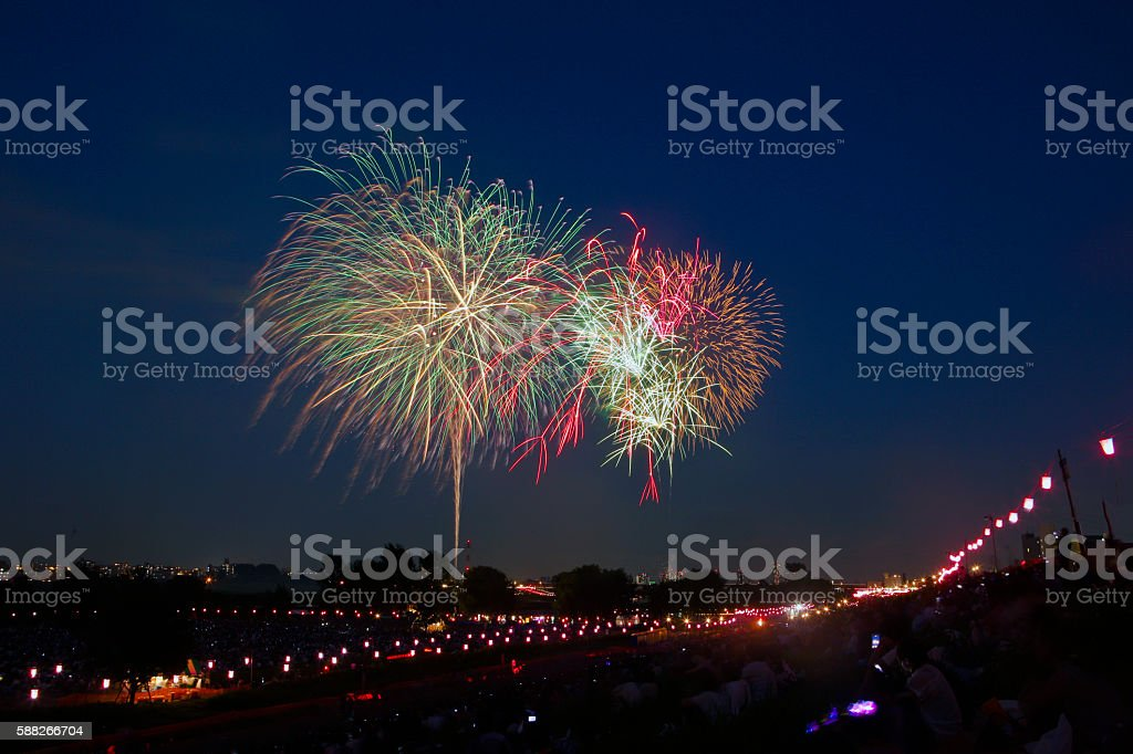 The 57th Itabashi Fireworks and the 63rd Todabashi Fireworks royalty-free stock photo
