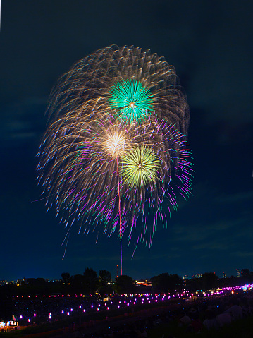 Itabashi Ward and Toda City, Tokyo, Japan - August 6, 2016: The 57th Itabashi Fireworks and the 63rd Todabashi Fireworks held at the same time on the riverbank of Ara River (also known as Arakawa River).