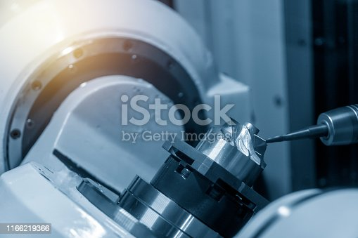 istock The 5-axis CNC machining center cutting the turbine blade parts with solid ball endmill tool. 1166219366