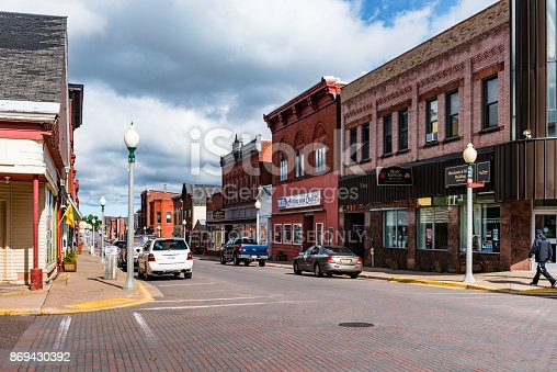 Calumet, Michigan, USA - October 4, 2017: The 5th street is a main retail and eating area in Calumet, Michigan, USA.