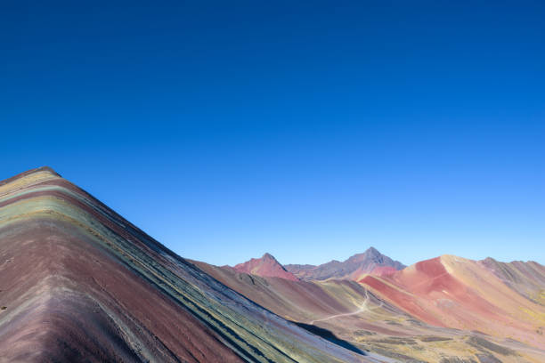 The 7-colored Rainbow Mountain in the beautiful Andes near Cusco stock photo