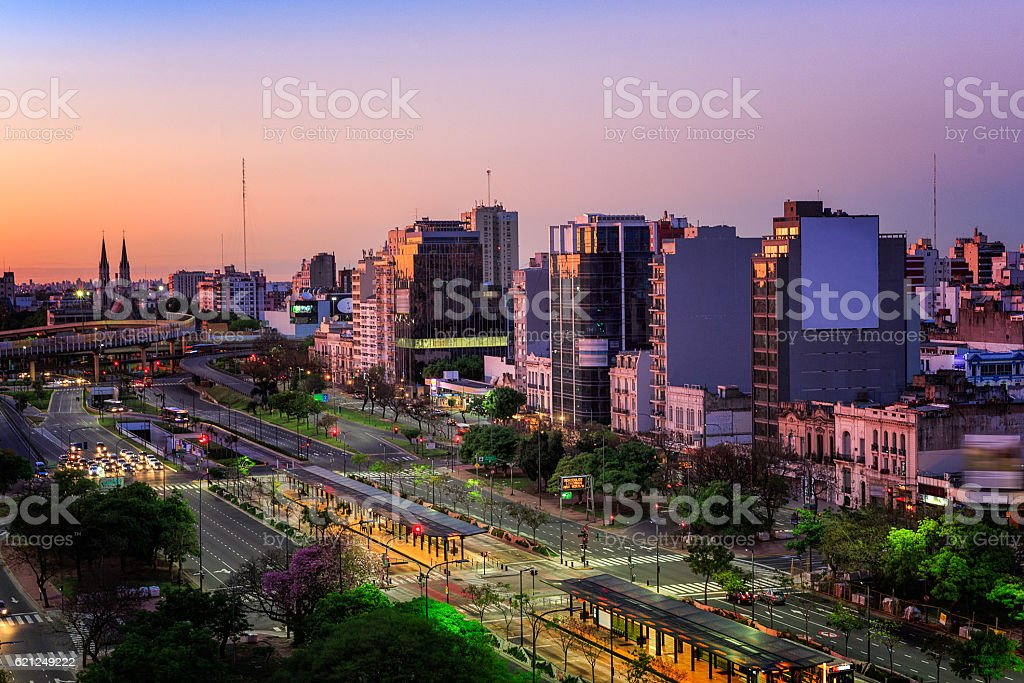 the 9th of July Avenue Buenos Aires, Argentina stock photo