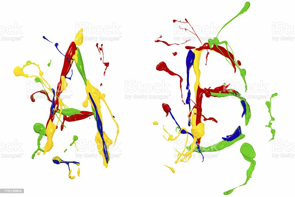 The a and b painted colorful royalty-free stock photo