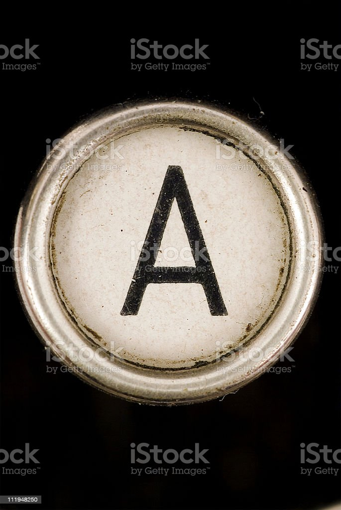The A key of full alphabet from grungey typewriter royalty-free stock photo
