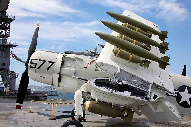 The A-1 Skyraider on the USS Midway stock photo