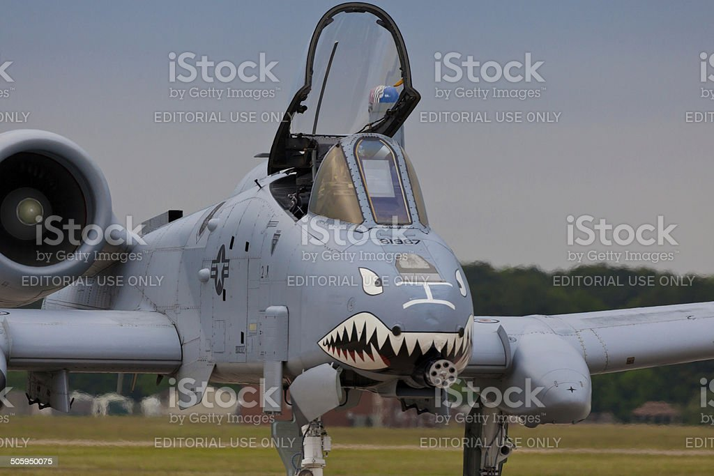 The A-10 Thunderbolt II displayed at Langley AFB stock photo