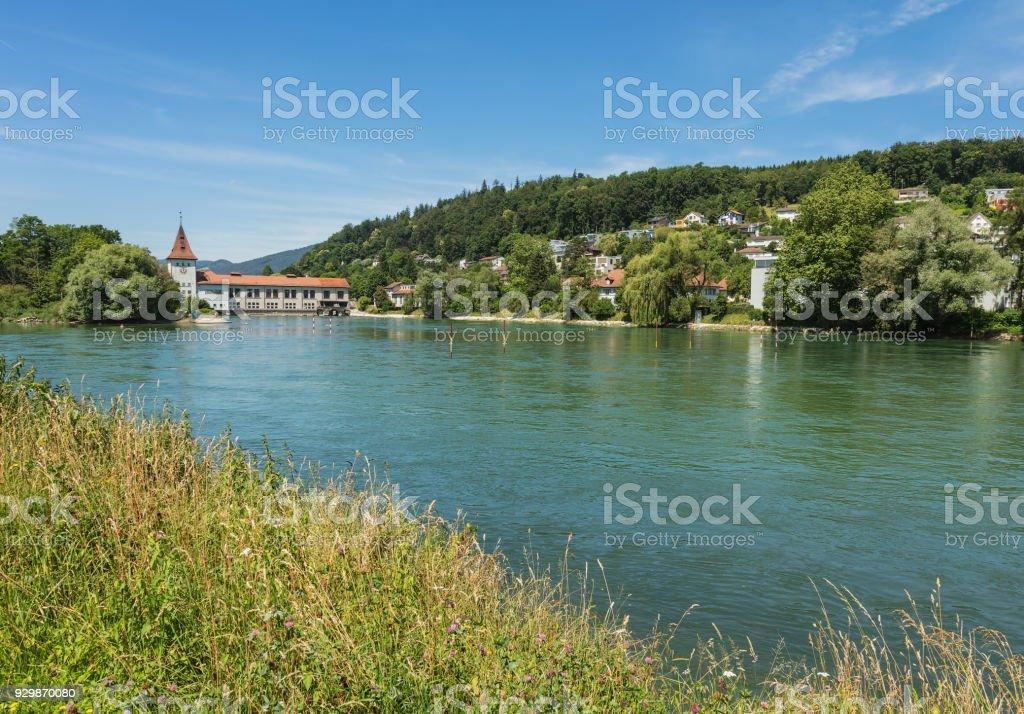 The Aare river in Switzerland stock photo
