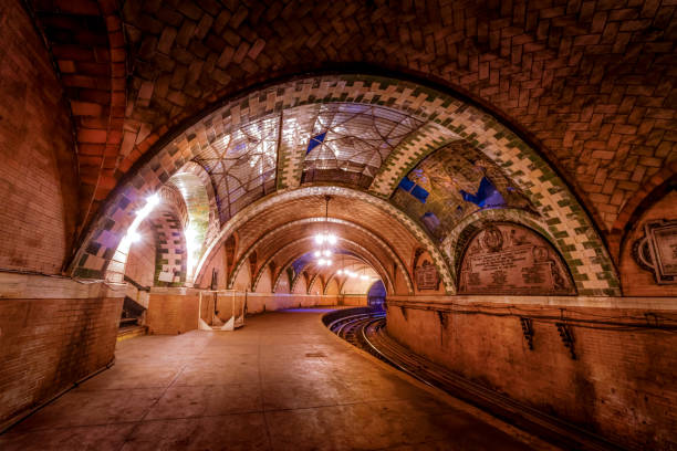 The abandoned Metro Station - NYC Manhattans oldest and beautifulest Metro Station town hall stock pictures, royalty-free photos & images