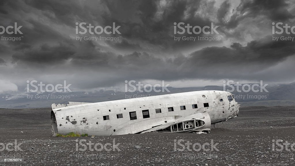 The abandoned wreck of a US military plane on Iceland stock photo