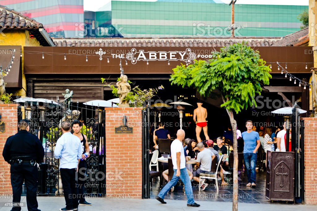 The Abbey food and Drink in West Hollywood West Hollywood, CA, USA - June 1, 2013: The Abbey food and Drink well known gay bar, restaurant in West Hollywood, where third of population proclaiming themselves as gays. Adult Stock Photo