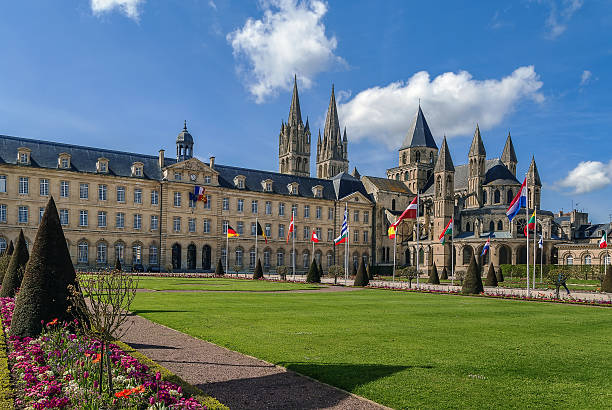 the abbey of saint-etienne and town hall, caen, france - caen stock pictures, royalty-free photos & images