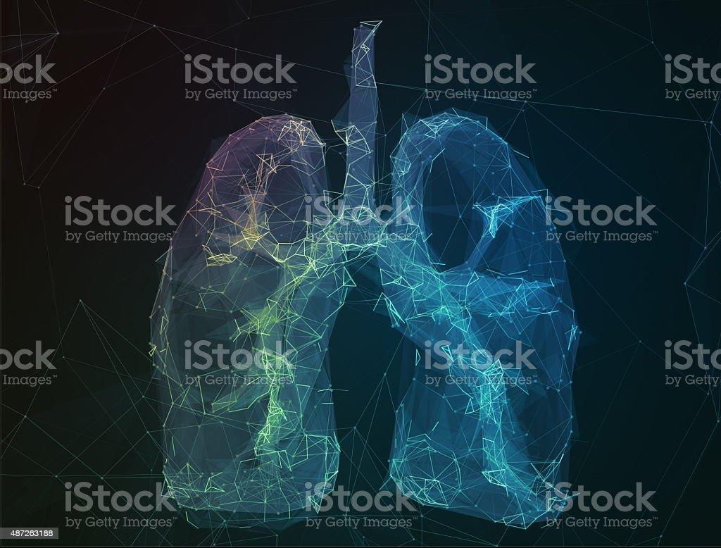 Das abstrakte Bild Menschliche Lunge in form von Linien Kommunikation – Foto