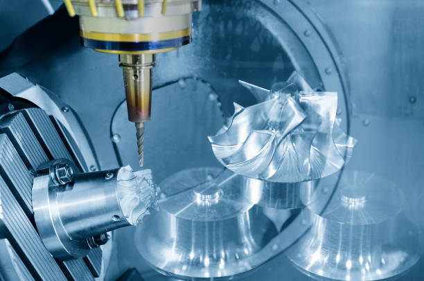 The abstract scene of  5-axis CNC Machining center stock photo
