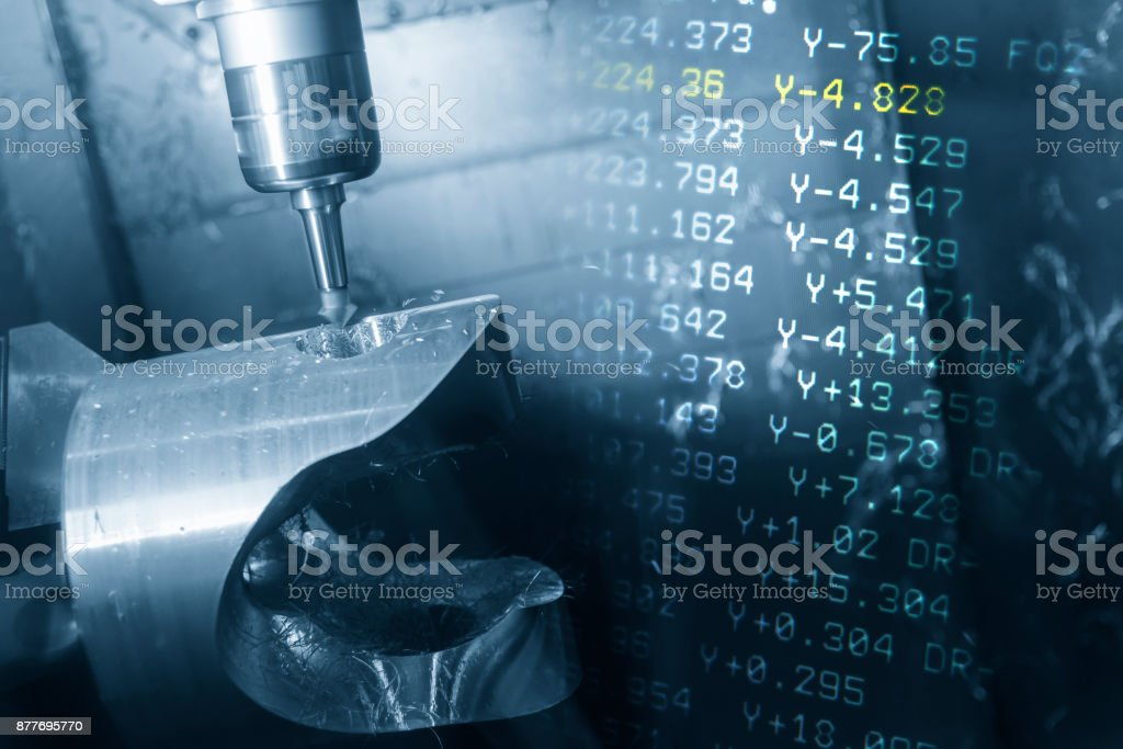 The abstract scene of 5-axis CNC milling machine and the NC code. stock photo