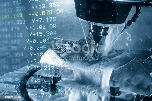 istock The abstract scene of the 5-axis CNC machining center and the G-code data. 1153242640