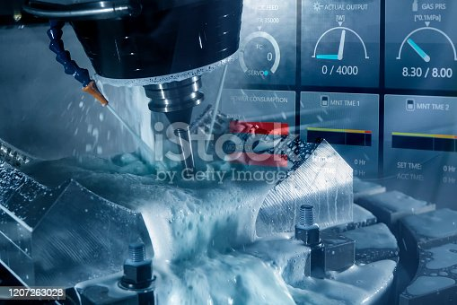 688536850 istock photo The abstracts scene of 5-axis CNC milling machine and monitor gauge  cutting the tire mold parts  by solid ball endmill tools. 1207263028