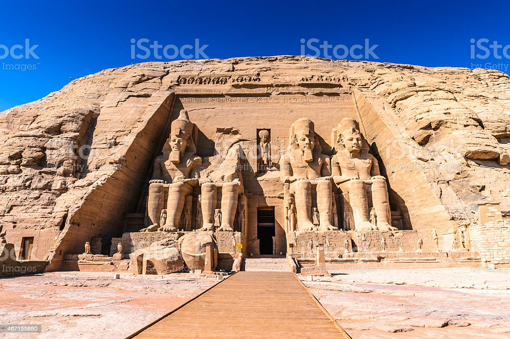 The Abu Simbel temple in Egypt stock photo