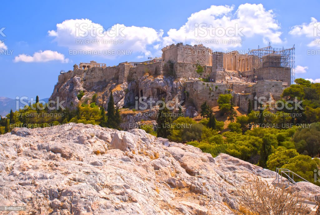 The Acropolis. A historical place of ancient civilization. Tourist attraction of Europe. The view from the mountains. stock photo