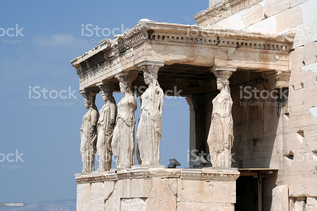 The acropolis: Erectheion, caryatids royalty-free stock photo