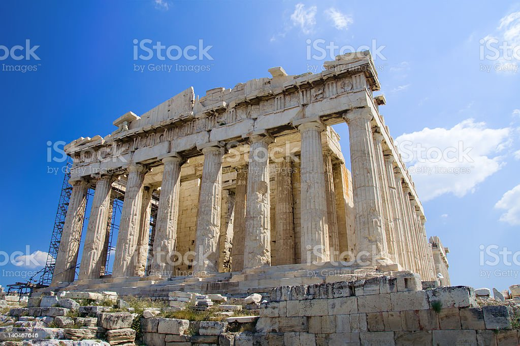 The Acropolis in Athens with blue sky background stock photo