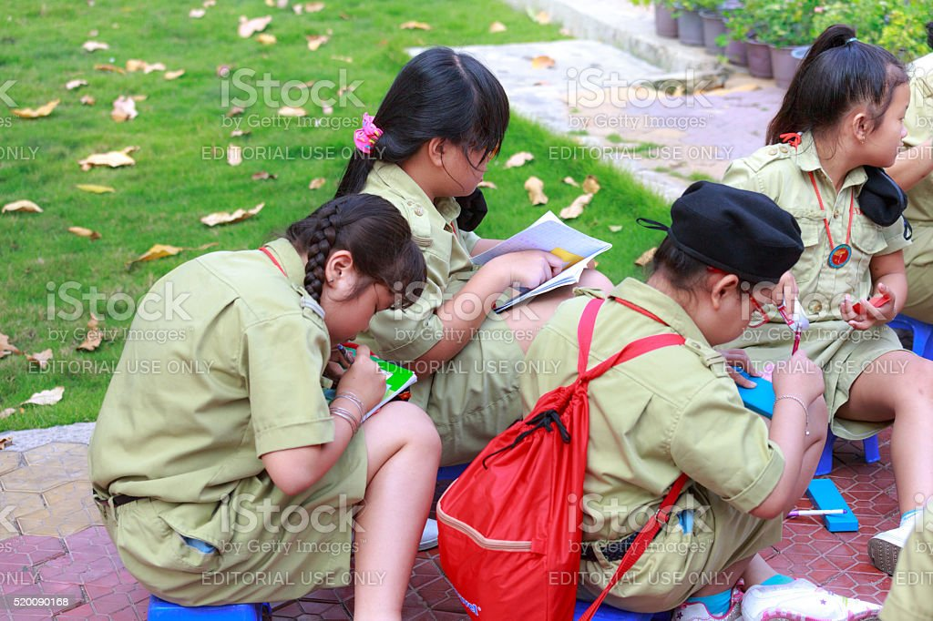 the activities of scouts at Tao Dan Park stock photo