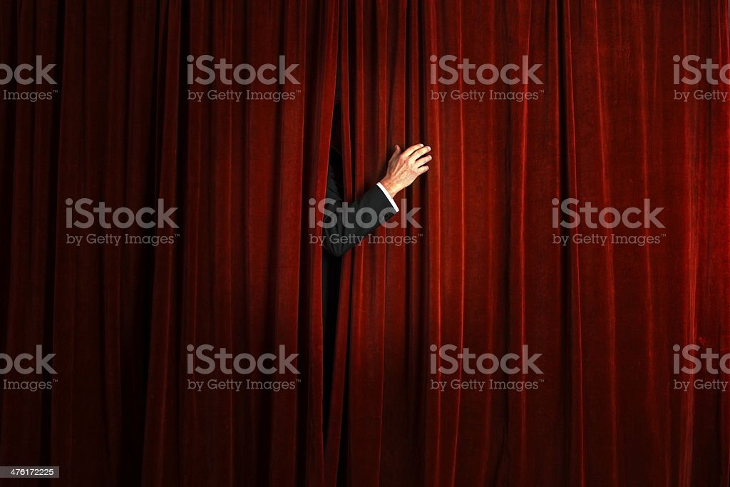 The actor on stage and curtain. stock photo