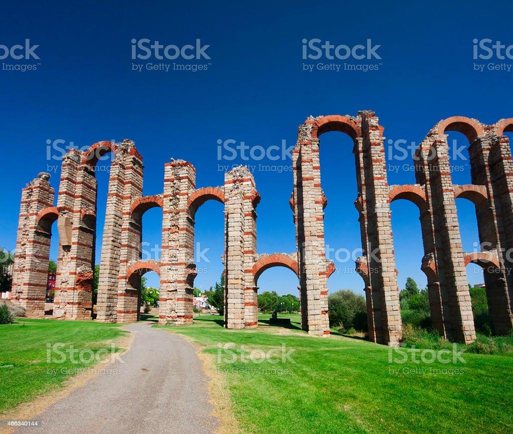 The Acueducto de los Milagros in Mérida, Spain stock photo