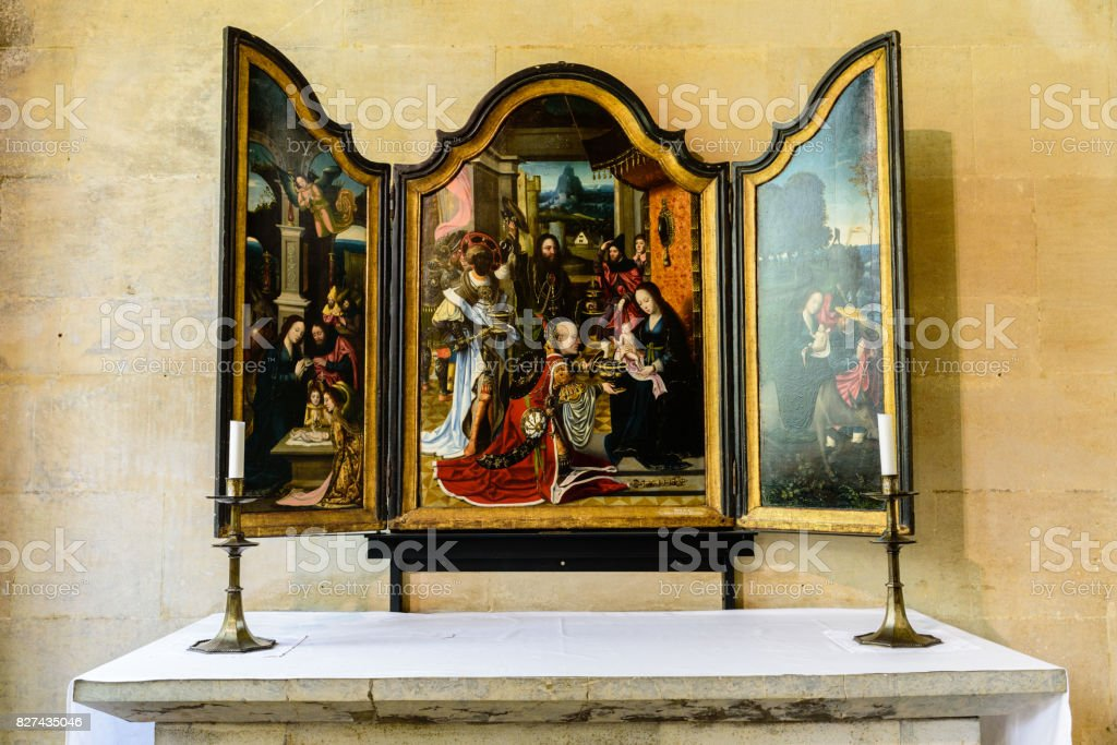 The Adoration of the Magi by Rubens, King's College Chapel, Cambridge, UK stock photo