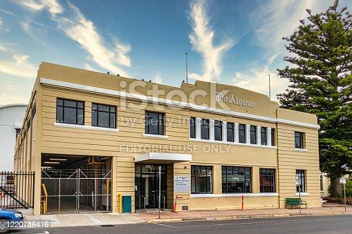 Burnie, Tasmania, Australia - March 1, 2020: The Advocate Newspaper buiding in Burnie Tasmania.