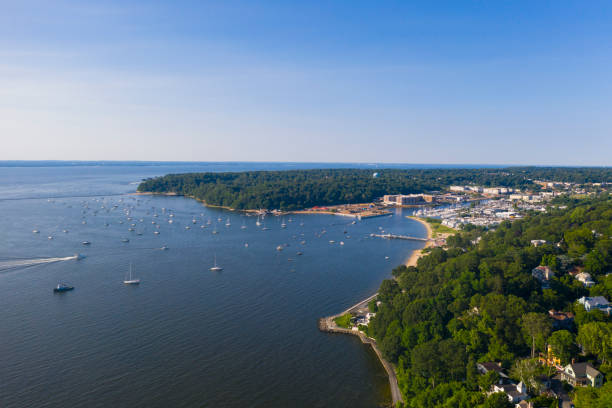The aerial scenic view on Manhasset Bay, Long Island, New York stock photo