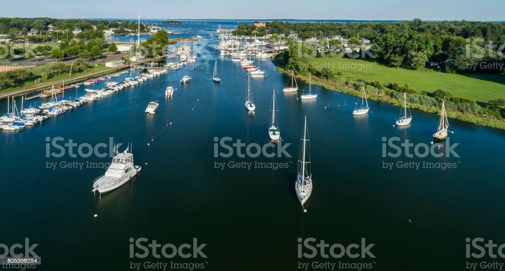 The aerial shoot of the Marina in Mamaroneck, Westchester County, New York State, USA stock photo