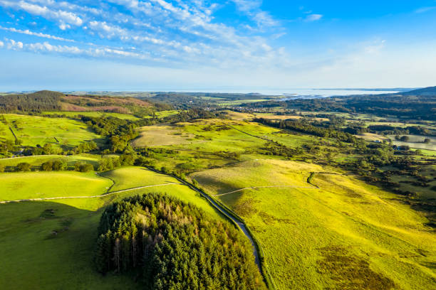 The aerial view across rural Scotland towrds the sea in the early evening of a summer day. A view captured by a drone flying above the landscape of Dumfries and Galloway, south west Scotland. In the distance is the Solway Firth. johnfscott stock pictures, royalty-free photos & images