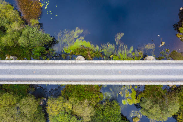 The aerial view looking directly down on a disused railway viaduct in rural Scotland The view from a drone of a disused railway viaduct as it crosses a narrow stretched of water.  The location is in Dumfries and Galloway south west Scotland johnfscott stock pictures, royalty-free photos & images