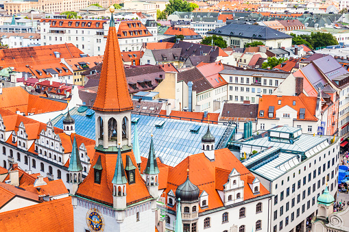 The aerial view of Munich city center from the tower of the old City Hall