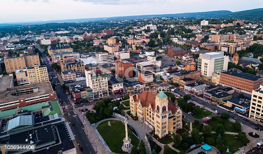 The aerial view of the City Hall and Downtown District of Scranton at sunset. Pennsylvania, USA