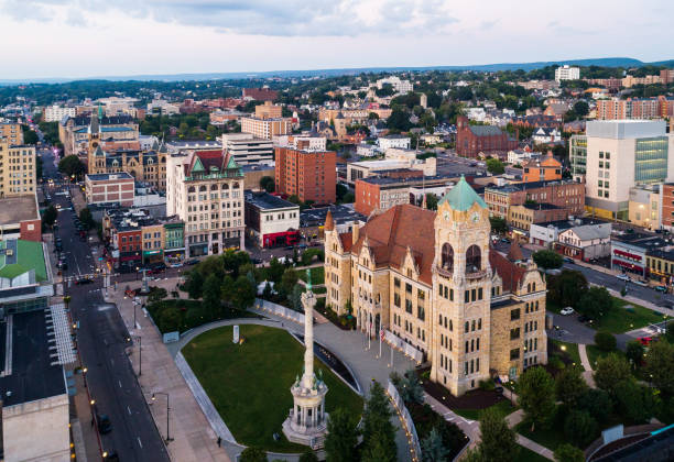 the aerial view of the city hall and downtown district of scranton at sunset. pennsylvania, usa - scranton pa stock photos and pictures