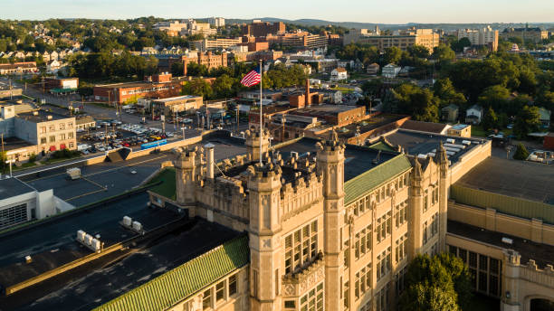 the aerial view of the city of scranton at sunset. pennsylvania, usa - scranton pa stock photos and pictures