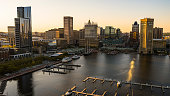 istock The aerial view of the Inner Harbor on Patapsco River in Baltimore, Maryland, USA, at sunset. 1304638002