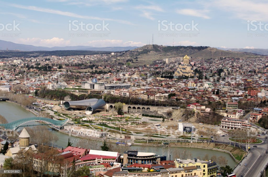 The aerial view of the Tbilisi city center stock photo