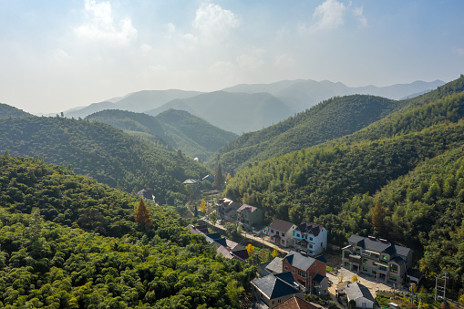 The aerial view of the village and bamboo forest of Mogan mountain in Zhejiang, China