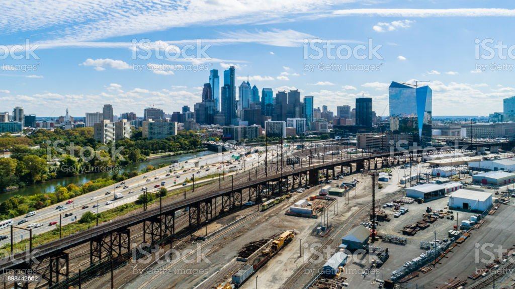 The aerial view on Philadelphia Downtown over the residential district of the city stock photo