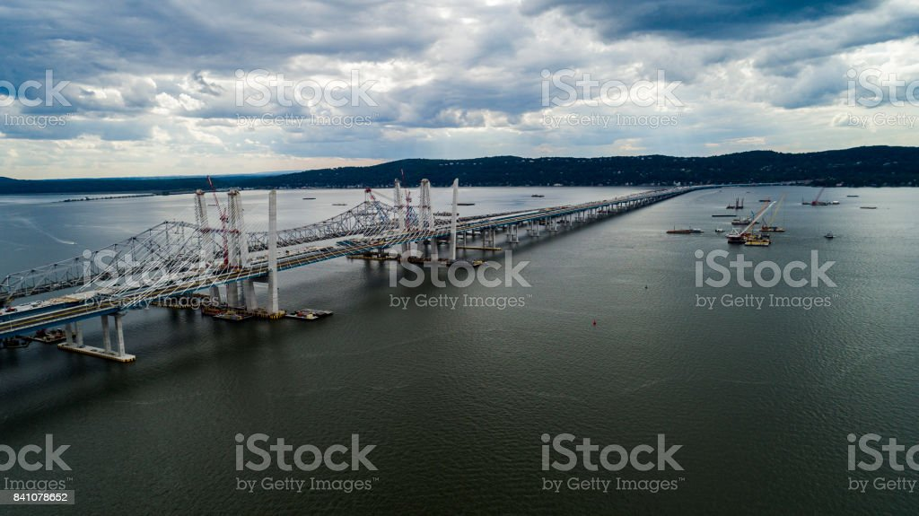 The aerial view ot the construction of the Tappan Zee Bridge over the Hudson River stock photo