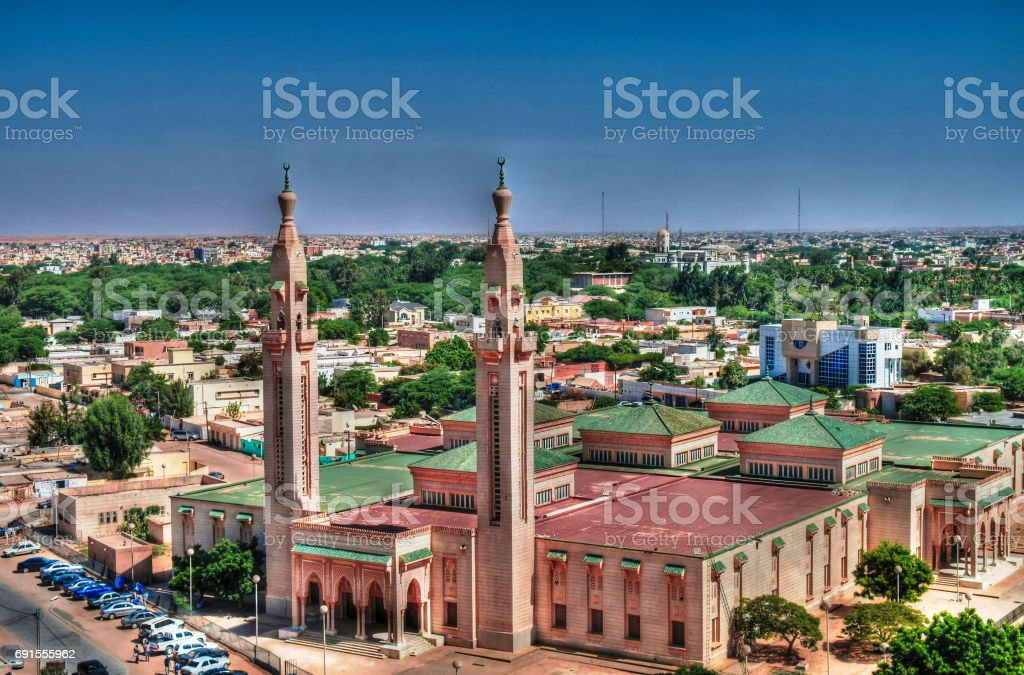 The Aerial view to Grand Mosque in Nouakchott, Mauritania stock photo