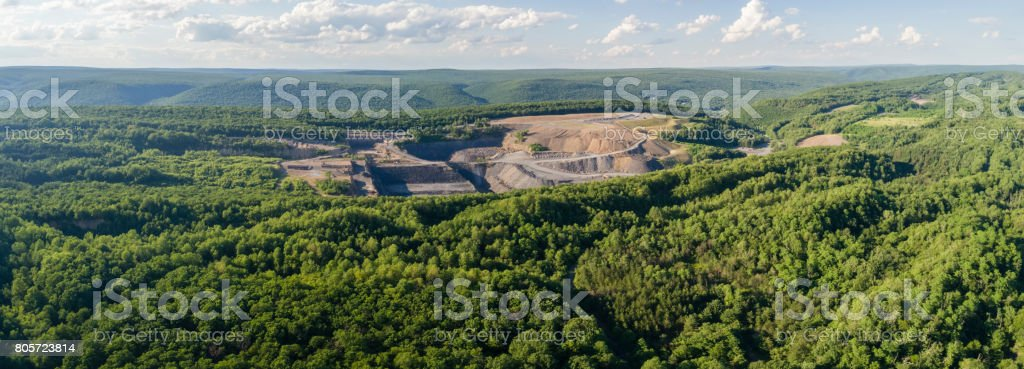 The aerial view to the open-cast mine in Lehigh Valley, Carbon County, Pennsylvania, USA. XXXL stitched panorama stock photo