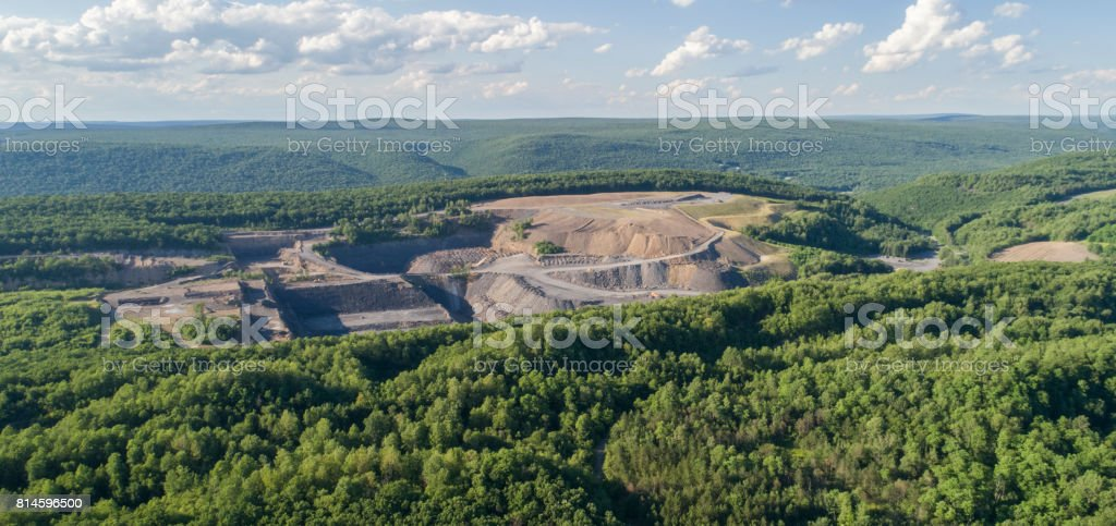 The aerial view to the open-cast mine in Lehigh Valley, Carbon County, Pennsylvania, USA. stock photo
